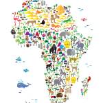 """Animal Map of Africa for children and kids"" by ModernArtPrints"