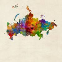 Russia Watercolor Map Art Prints & Posters by Michael Tompsett