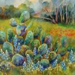 """""""Bluebonnets and Cactus"""" by HaileyWatermedia"""