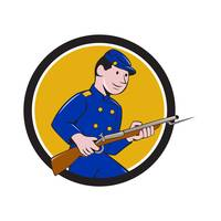 Union Army Soldier Bayonet Rifle Circle Cartoon