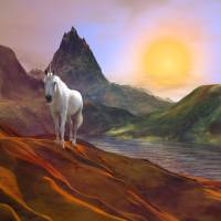 Unicorn in Lemuria Art Prints & Posters by Anne Vis