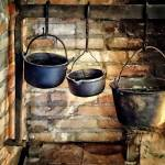 """Three Pots in Colonial Kitchen"" by susansartgallery"
