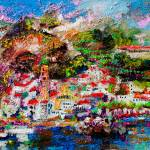 """Amalfi Italy Impressionist Oil Painting"" by GinetteCallaway"