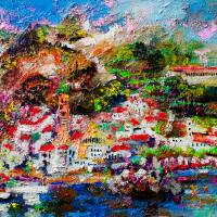 Amalfi Italy Impressionist Oil Painting Art Prints & Posters by Ginette Callaway