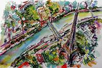 Paris Eiffel Tower and River Seine Aerial Views