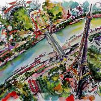 Paris Eiffel Tower and River Seine Aerial Views Art Prints & Posters by Ginette Callaway