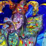 """FLUTIST IN BLUE / Venetian Carnival Night"" by BulganLumini"