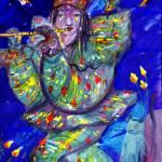 """FLUTIST IN BLUE 2 / Venetian Carnival Night"" by BulganLumini"