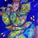 """FLUTIST IN BLUE 2 / Venetian Carnival Night"" by BulganLumini"
