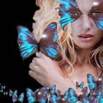 """""""BLUE BUTTERFLY WOMAN"""" by BulganLumini"""