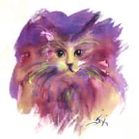 PURPLE KITTY CAT PORTRAIT Art Prints & Posters by Bulgan Lumini