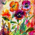 """Garden Pansies Delight in Bold Colors"" by GinetteCallaway"
