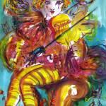 """""""PIERO PLAYING VIOLIN / Venetian Carnival Night"""" by BulganLumini"""