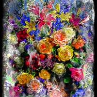 17a Abstract Floral Painting Digital Expressionism Art Prints & Posters by Ricardos Creations