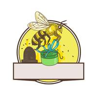 Bee Carrying Gift Box Skep Circle Drawing