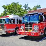"""Two Fire Engines in Front of Firehouse"" by susansartgallery"