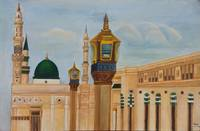 Madinah islamic architecture oil painting on playw
