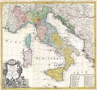 Vintage Map of Italy (1742)