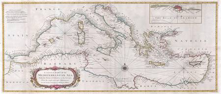 Vintage Map of The Mediterranean Sea (1745)