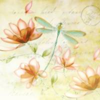 pink flowers and dragonfly Art Prints & Posters by Elizabeth Mix