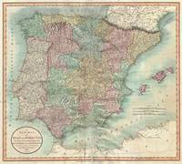 Vintage Map of Spain and Portugal (1801)