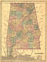 Vintage Map of Alabama (1848)