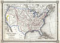 Vintage United States Gold Rush Regions Map (1852)