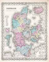 Vintage Map of Denmark (1855)