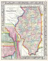 Vintage Map of Illinois (1861)