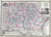 Vintage Map of Alabama and Georgia (1862)