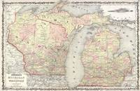 Vintage Map of Michigan & Wisconsin (1862)