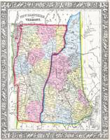 Vintage Map of New Hampshire and Vermont (1862)