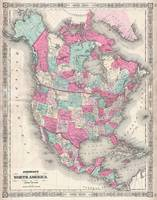 Vintage Map of North America (1864)