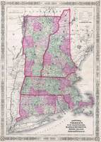 Vintage Map of New England States (1864)