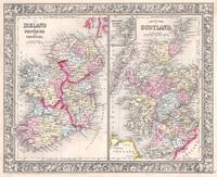 Vintage Map of Ireland and Scotland (1864)