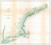 Vintage Coastal Map of New England (1864)
