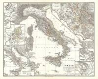 Vintage Map of Italy (1865)