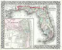 Vintage Map of Florida and Mobile AL (1874)