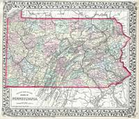 Vintage Map of Pennsylvania (1874)