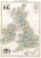 Vintage Map of The British Isles (1878)