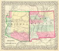 Vintage Map of Arizona and New Mexico (1867)