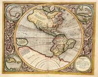Vintage Map of The Western Hemisphere (1596)