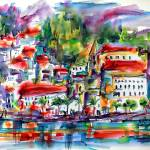 """Modern Amalfi Italy Watercolor Art Print"" by GinetteCallaway"
