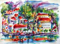 Modern Amalfi Italy Watercolor Art Print