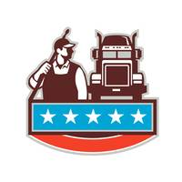 Pressure Washer Worker Truck USA Flag Retro