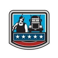 Pressure Washer Worker Truck Crest USA Flag Retro