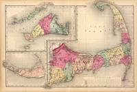 Cape Cod, Martha's Vineyard & Nantucket Map (1871)
