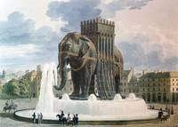 Vintage Elephant of The Bastille Illustration