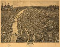 Vintage Pictorial Map of Elgin Illinois (1880)