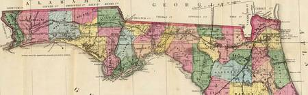 Vintage Map of The Florida Panhandle (1870)